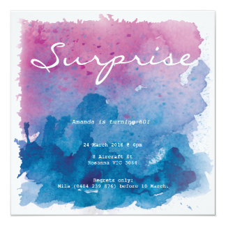 Purple and Blue Watercolour Surprise Birthday Card