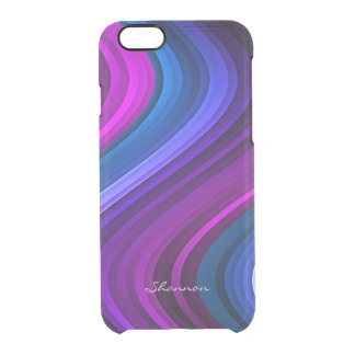 Purple and Blue Waves Clear iPhone 6 case