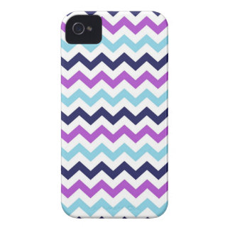 Purple and Blue Zig Zag Chevrons Pattern iPhone 4 Covers