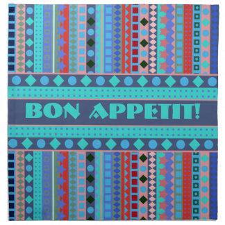 Purple and Blue ZigZag Geometric Stripes Printed Napkins