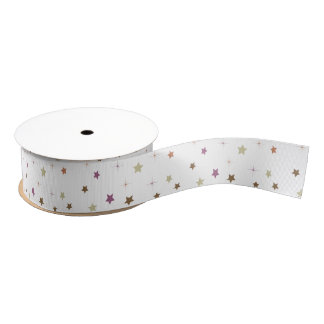 Purple and brown stars craft ribbon grosgrain ribbon