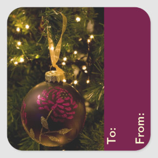 Purple and Burgundy Christmas Bauble Gift Tags