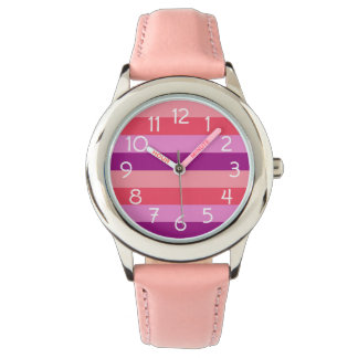 Purple and Coral Striped Wristwatch