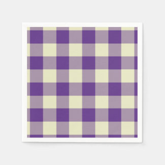 Purple and Cream Gingham Pattern Paper Napkins