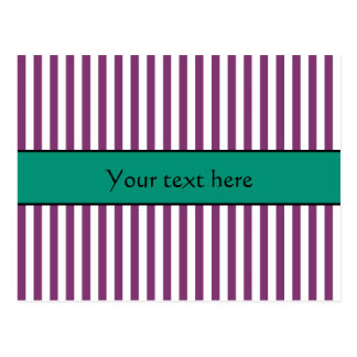 Purple and Emerald Green Stripes Pattern Postcard