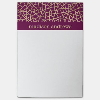 Purple and Faux Gold Foil Abstract Pattern Post-it Notes