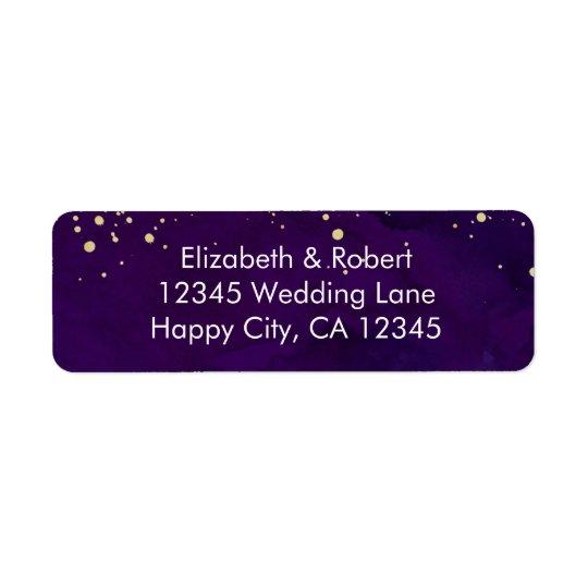 Purple and Faux Gold Glitter Return Address Label