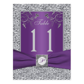 Purple and FAUX Silver Foil Table Number Card