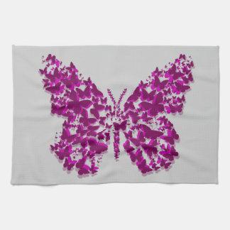 Purple and Fuchsia Layered Butterfly Kitchen Towel