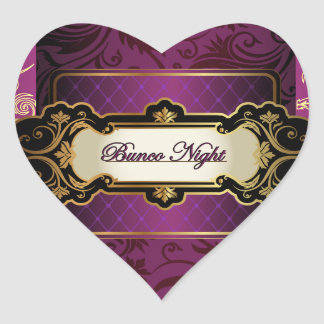 Purple and Gold Bunco Collection Heart Sticker