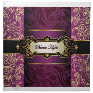Purple and Gold Bunco Collection Printed Napkin