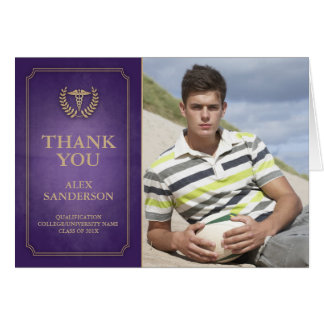 Purple and Gold Caduceus/Medical Symbol Thank You Card
