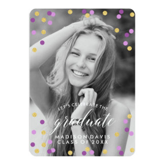 Purple and Gold Confetti Photo Graduation Card