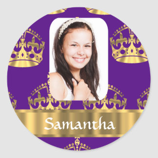 Purple and gold crown personalized photo round stickers