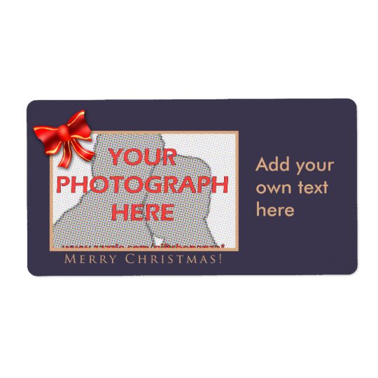 Purple and gold customizable photo labels