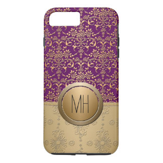 Purple and Gold Damask Custom Monogram Pattern iPhone 8 Plus/7 Plus Case