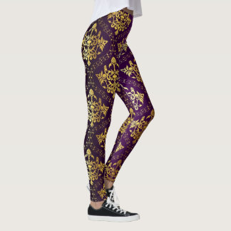Purple And Gold Damask Leggings