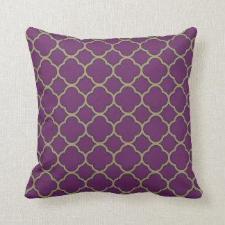Purple and Gold Deep Flora Quatrefoil Decorative Throw Pillow