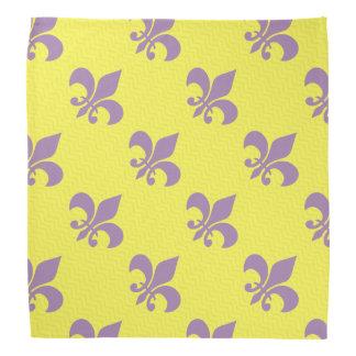Purple and Gold Fleur De Lis Bandana