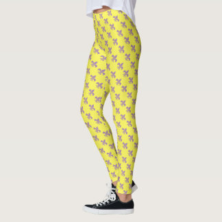 Purple and Gold Fleur De Lis Leggings