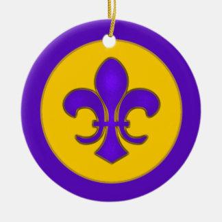 Purple and Gold Fleur de Lis Ornament
