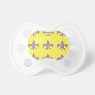 Purple and Gold Fleur De Lis Pacifier