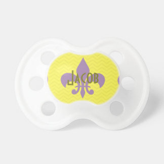 Purple and Gold Fleur De Lis Pacifier With Name