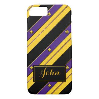 Purple and Gold Fleur-de-lis Pattern iPhone 8/7 Case