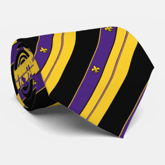 Purple and Gold Fleur-de-lis Pattern Tie