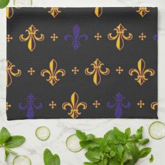Purple and Gold Fleurs De Lis Kitchen Towel