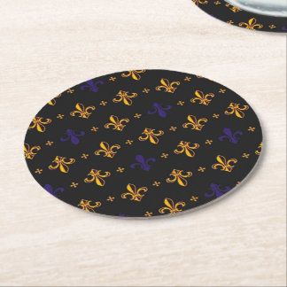Purple and Gold Fleurs de Lis Round Paper Coaster