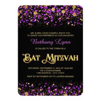 "Purple and Gold Glitter Bat Mitzvah 4.5"" X 6.25"" Invitation Card"