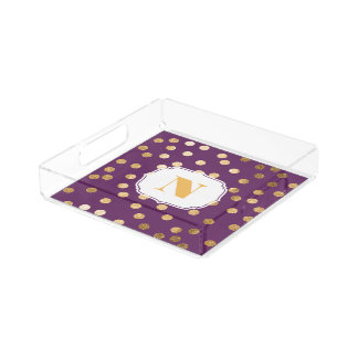 Purple and Gold Glitter City Dots Monogram Tray