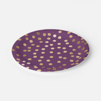 Purple and Gold Glitter Dots Paper Plate
