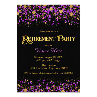 Purple and Gold Glitter Retirement Party Card