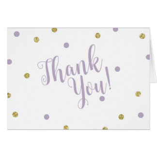 Purple and Gold Glitter Thank You Cards