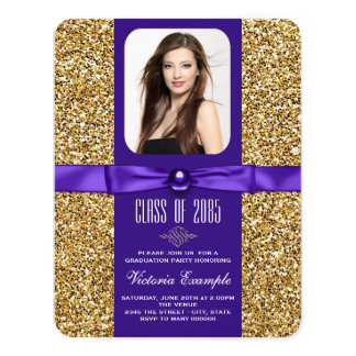"Purple and Gold Graduation Announcements 4.25"" X 5.5"" Invitation Card"
