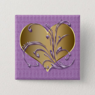 Purple And Gold Heart 2 Inch Square Button