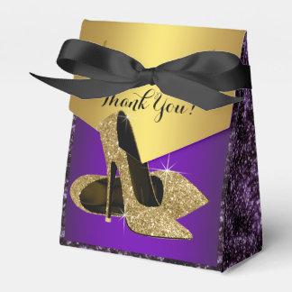 Purple and Gold High Heel Shoe Birthday Favor Box