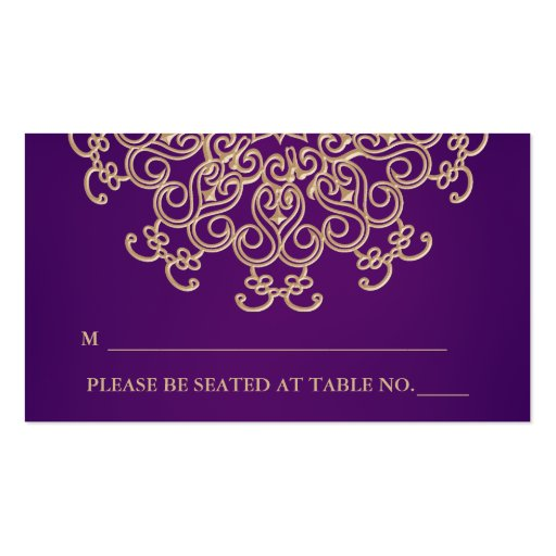 Purple and Gold Indian Inspired Seating Place Card Business Card