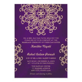 "PURPLE AND GOLD INDIAN STYLE WEDDING INVITATION 5"" X 7"" INVITATION CARD"