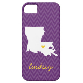 Purple and Gold Louisiana Love Chevron Monogram iPhone 5 Cover