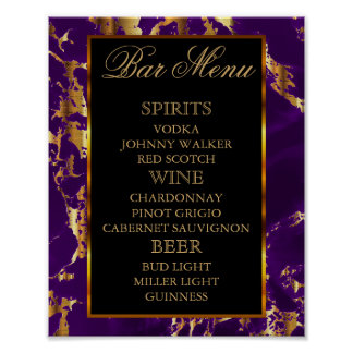 Purple and Gold Marble and Black - Bar Menu Poster
