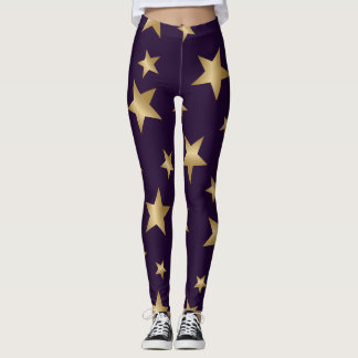 purple and gold metallic stars fashion leggings