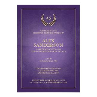 Purple and Gold Monogram/Laurel Wreath Graduation Card