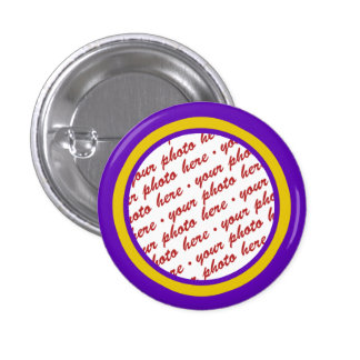 Purple And Gold Photo Frame Template 1 Inch Round Button