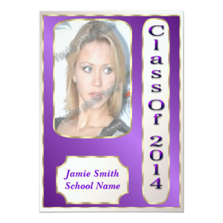 Purple and Gold Photo Graduation Party Invitations