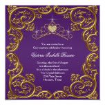 Purple and Gold Quinceanera Personalized Invitations