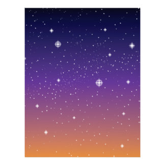 Purple and Gold Starry Sunset Sky Flyers