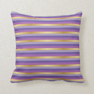 Purple and Gold Stripes Throw Pillow